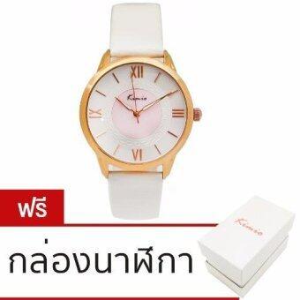 ราคา Kimio นาฬิกาข้อมือผู้หญิง ดีไซน์เกาหลี กันน้ำ สายหนังแก้วสีขาว รุ่น KM-528 สีขาว (White)