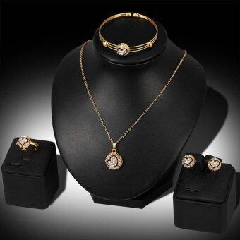 Kuhong Women Black Heart Rhinestone Necklace Bracelet Ring Earrings Jewelry Set - intl