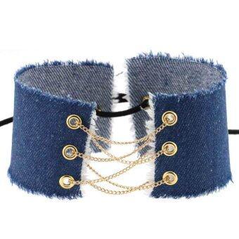 อยากขาย Kuhong Women Cowboy Gothic Punk Leather Gold&Silver Tether Choker Necklace
