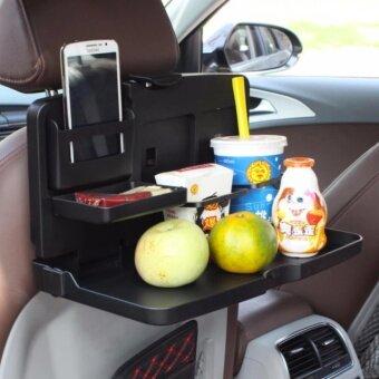 KUMALL ถาดวางอาหาร เครื่องดื่ม เบาะหลังรถ ในรถยนต์ แบบพับเก็บได้พร้อมที่วางแก้ว สีดำ Black Car Seat Table Drink Food Cup DivingTray