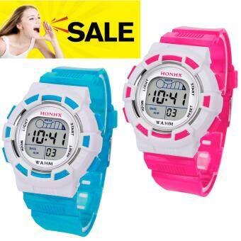 ราคา นาฬิกาข้อมือดิจิตอลไสตล์กีฬาจอ LCD ขอบขาวของขวัญลูกหลาน (แพ็ค2)