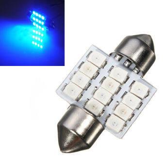 LED หลอดไฟ SMD 12 ดวง ไฟห้องโดยสาร ไฟอ่านหนังสือ (สีฟ้า) (image 0)