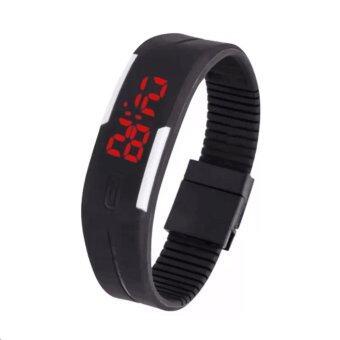 LED Watch Colorful นาฬิกาข้อมือผู้ชาย สีดำ สายซิลิโคน