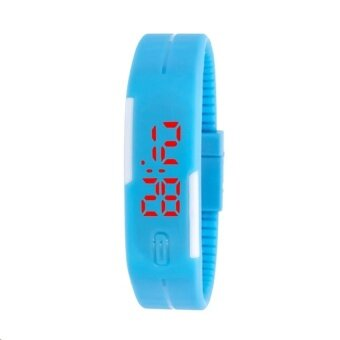 ราคา LED Watch Colorful นาฬิกาข้อมือผู้ชาย สีฟ้า สายซิลิโคน