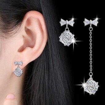 Leifen Long and short earrings geometric atmosphere cube love window earrings wild fashion leisure noble 925 sterling silver resistance allergy ear hanging