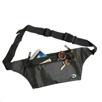 Lotte กระเป๋าคาดเอว แนบตัว กันน้ำ ซิปแข็งแรง 3 ช่อง - JA1002 (Gray)