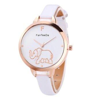 Luxury Fashion Leather Band Analog Quartz Round Wrist Watches White - intl
