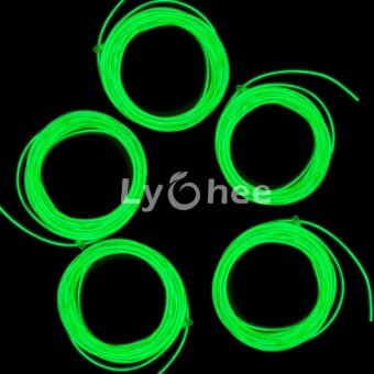 Lychee Neon Glowing Strobing Electroluminescent Light El WireHalloween Decoration (Green, 3m .