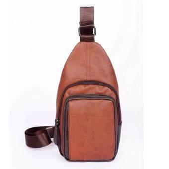 M2 กระเป๋าสะพายไหล่ กระเป๋าคาดไหล่ คาดอก กระเป๋าคาดบ่า หนังเกรดPremium Shoulder Bag สีน้ำตาล (Brown)