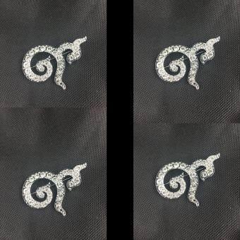 Marino เข็มกลัดติดเสื้อไว้อาลัย เลข ๙ ฝังเพชร (ราคาส่ง แพ็ค 4 ชิ้น) พร้อมถุงกำมะหยี่ ขนาด 4cm.x2.5cm. รุ่น M007 - Sliver