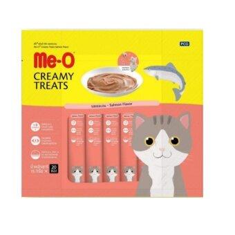 Me-o Creamy Treats Salmon 15g x 20 units (4 Packs) มีโอ ขนมแมวเลีย รสปลาแซลมอน บรรจุแพ็คละ 20 ซอง ซองละ 15 กรัม (จำนวน 4 แพ็ค)