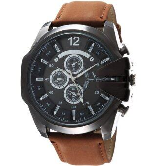 MEGA Luxury Quartz Waterproof Leather Watchband Outdoor Fashion Analog Wristwatch หรูหรานาฬิกาข้อมือ สายหนัง กันน้ำ รุ่น MG0018 (Black/Dark Brown)