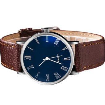 MEGA Quartz Waterproof Luminescence Glass Wristwatch Roma Digits หรูหรานาฬิกาข้อมือ สายหนัง กันน้ำ รุ่น MG0010 (Brown) (image 2)