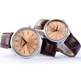 MEGA Quartz Waterproof Slim PU Leather Wristwatch Lover Couple Watch หรูหรานาฬิกาข้อมือ สายหนัง กันน้ำ นาฬิกาคู่ รุ่น MG0008 (Brown)