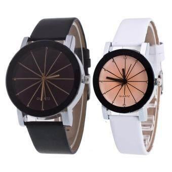MEGA Quartz Waterproof Slim PU Leather Wristwatch Lover CoupleWatch ������������������������������������������������������ ��������������������� ������������������ ��������������������������� ������������ MG0014 (1Black+1 White)(White) (image 0)