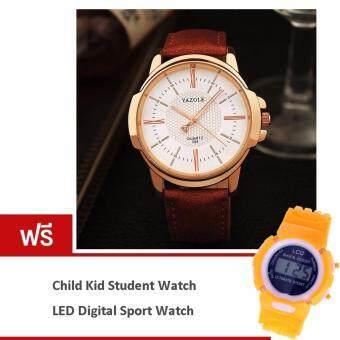 ซื้อ/ขาย MEGA Yazole Business Fashion Water Resistant Golden Case Quartz Analog Men Leather Watch MG0038 (Brown/White) (ฟรี Fashion Candy Colorful Kid Student Sport Watch Orange)