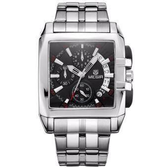 ซื้อ/ขาย นาฬิกาข้อมือ MEGIR สายสแตนเลส นาฬิกาชายระบบโครโนกราฟ