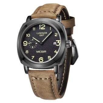MEGIR แฟชั่นเครื่องหนังนาฬิกาควอทซ์คนทหารธุรกิจสบาย ๆ กันน้ำเรืองแสงคล้ายคลึงมะยม (สีน้ำตาลสีดำ)