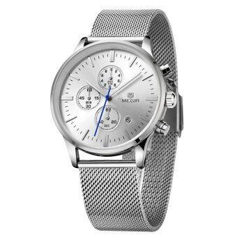 MEGIR ไฮเอนด์ตาข่ายเหล็กตรวจนาฬิกาข้อมือนาฬิกาควอทซ์ธุรกิจยอดเยี่ยมชายด้วยปฏิทิน และย่อยกด