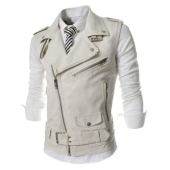 Men Korea Style PU Leather Motorcycle Vest Jackets(Black) - intl