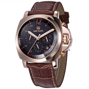 ชายเสื้อยี่ห้อ Megir นาฬิกาโครโนกราฟนาฬิกาหรูหนังทหาร (สีน้ำตาล)