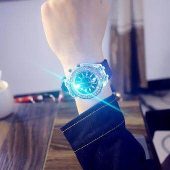 8896060a5ac1ce Mens Geneva diamond women crystal 7 colors led light watch unisex silicone  jelly candy fashion flash
