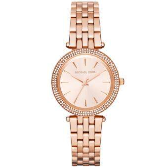 Michael Kors MK3431 นาฬิกาข้อมือ แฟชั่น ผู้หญิง สีทอง Women's 'Darci' Rose-Tone Stainless Steel Watch Strap Dial Leather Steel