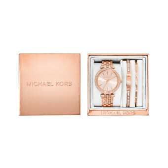 Michael Kors Women's Mini Darci Rose Gold-Tone Stainless SteelBracelet Watch Gift Set 33mm MK3431