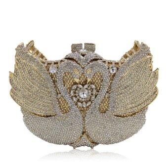 Milisente Women Handbags Animal Luxury Crystal Evening Bags Pair Swan Shape Diamonds Bouquet Party Wedding Day Clutches 698 - intl