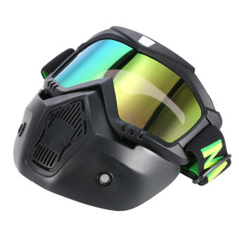 Mortorcycle Mask Goggles and Mouth Filter for Open Face Helmet Motocross Ski Snowboard - intl