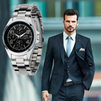 NARY Man Watch นาฬิกาข้อมือ ผู้ชาย สายเหล็ก แฟชั่น ลดราคาถูก กันน้ำ หน้าปัดดำ รุ่น NARY-Black