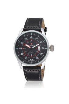 ประเทศไทย Naviforc นาฬิกาข้อมือผู้ชาย สีดำ/เงิน สายหนัง รุ่น NF-9044