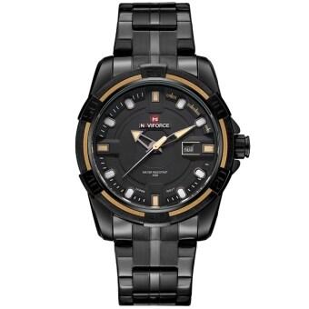 2561 NAVIFORCE นาฬิกาข้อมือชาย ขอบหน้าปัดสีครีม เรือนดำ สายเหล็ก (สีดำ)