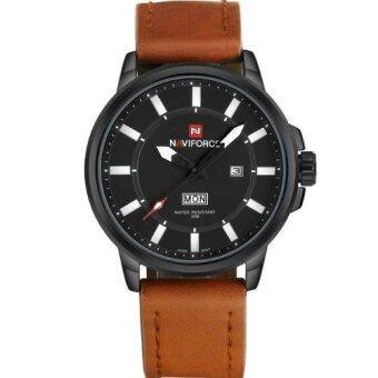 ซื้อ/ขาย NAVIFORCE นาฬิกาข้อมือผู้ชาย แท้ หน้าปัดสีดำ สายหนัง (สีน้ำตาลอ่อน)