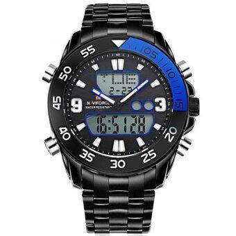 2561 NAVIFORCE นาฬิกาข้อมือชาย 2 ระบบ ขอบสีน้ำเงิน เรือนดำ สายสแตเลส (สีดำ)