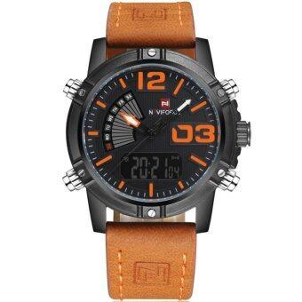 ประเทศไทย NAVIFORCE นาฬิกาข้อมือชาย 2 ระบบ หัวสกรูเลขชั่วโมงสีส้ม สายหนัง(สายหนังสีน้ำตาลอ่อน)