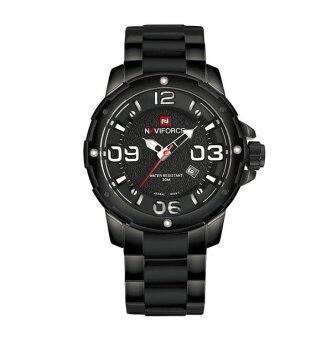 NAVIFORCE นาฬิกาข้อมือชาย ตัวเลขสีขาว เรือนดำ สายเหล็ก (สีดำ)