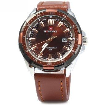 NAVIFORCE 9056 Men Leather Band Quartz Watch 30M Water Resistant Luminous (Intl)