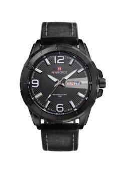 NAVIFORCE นาฬิกาข้อมือผู้ชาย สีดำ สายหนังแท้ รุ่น F9055-BLACK