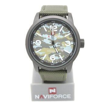 2561 NaviForce นาฬิกาทหาร สายผ้า Nano สีเขียว หน้าปัดลายพลาง มีวันที่ - NV-001 (Green)