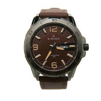 NAVIFORCE นาฬิกาข้อมือผู้ชาย สีน้ำตาล สายหนังแท้ รุ่น NF9055-BROW