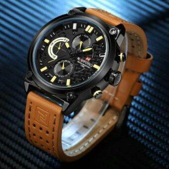 ประเทศไทย NAVIFORCE นาฬิกาข้อมือผู้ชาย สายหนังแท้ บอกวันที่และสัปดาห์ ระบบโครโนกราฟ สไตล์หรูหรา รุ่นNF9071