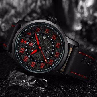 ราคา NAVIFORCE นาฬิกาข้อมือระบบควอตซ์ สายหนัง รุ่น NF9076-BRB สีดำแดง