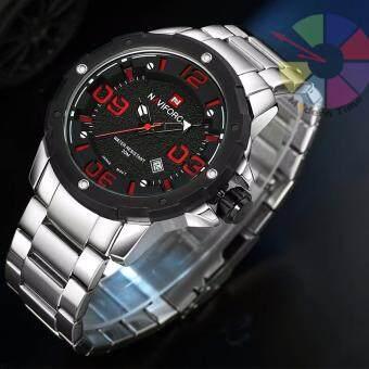 2561 NAVIFORCE นาฬิกาข้อมือ สายแสตนเลส รุ่น NF9078-RED ของแท้ กันน้ำได้