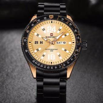 นาฬิกาข้อมือชาย แบรนด์หรู NAVIFORCE รุ่นNF9102-RGBRGสเตนเลสเหล็กเต็มรูปแบบ หน้าปัดทอง-ดำ ระบบควอตซ์ กันน้ำกันฝุ่น100 % สไตล์แฟชั่นสปอร์ต
