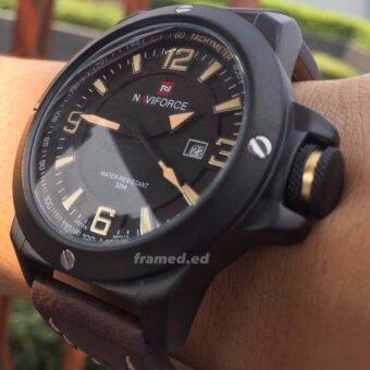 ซื้อ/ขาย naviforce นาฬิกาข้อมือ สายหนัง น้ำตาลเข้ม นาฬิกาข้อมือผู้ชาย นาวี่ฟอส รุ่น NVFCLAS
