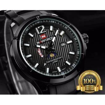 2561 NAVIFORCE WATCH นาฬิกาข้อมือผู้ชาย สายแสตนเลสแท้สีดำ มีช่องบอกกลางวัน-กลางคืน มีวันที่ สัปดาห์ กันน้ำ NF9084 (ดำ)