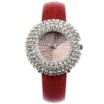 Neptune นาฬิกาแฟชั่น นาฬิกาข้อมือ ผู้หญิง เพชรหรู สายหนัง สีแดง Starry Diamond Fashion Casual Women Lady Leather Watch (Red)
