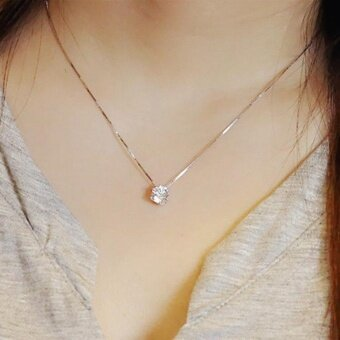 New 925 Sterling Silver Clavicle chain Zircon Pendant Necklace Fashion women (Size: One Size - intl