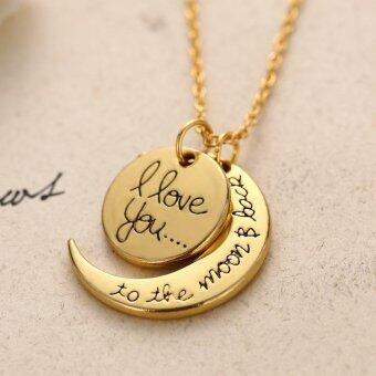 "New Arrival Fashion ""i love you to the moon and back"" Sun Moon Shaped Pendants Necklace charm Jewelry-Gold - intl"